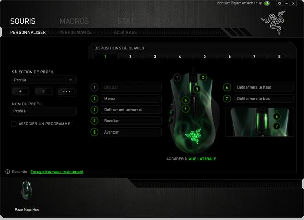 Configuration des touches de la souris Razer Naga HEX