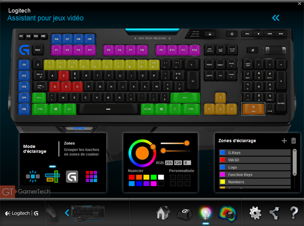 Eclairage clavier gamer par zones de commandes