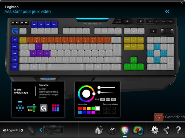 Personnalisation de l'éclairage des touches du clavier G910
