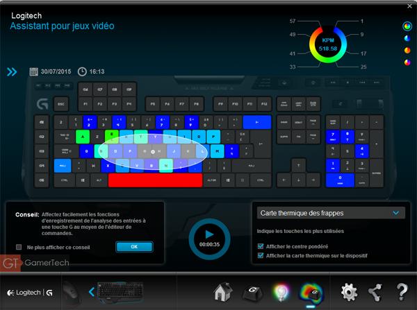 Enregistrement des statistiques d'utilisation du clavier Logitech