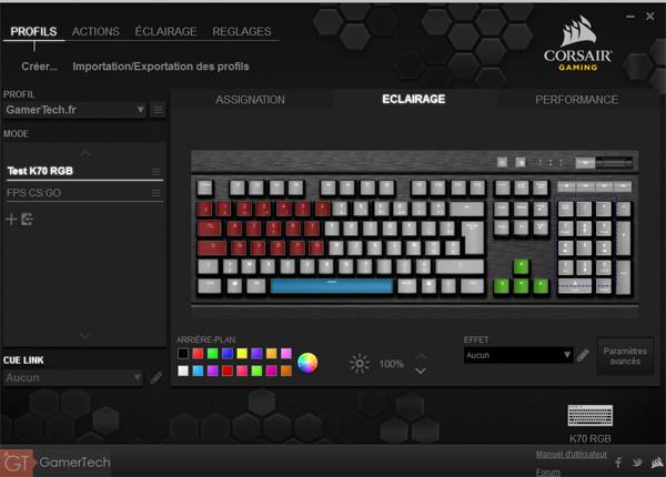Gestion éclairage Corsair K70 RGB