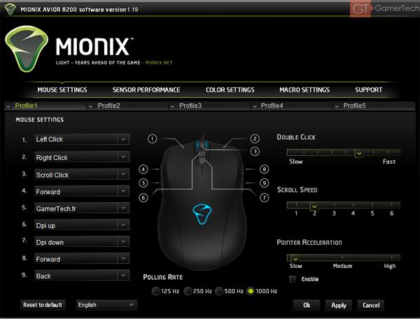Logiciel Mionix Avior 8200