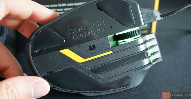 Zoom sur le capteur laser et les patins en téflon
