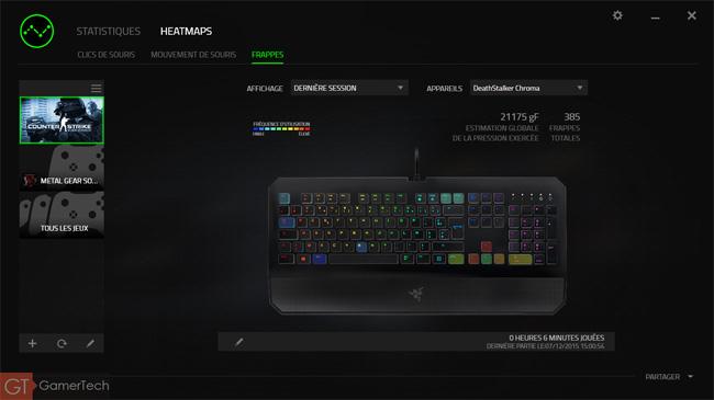 Heatmap des frappes réalisées sur un clavier Razer pendant Counter Strike