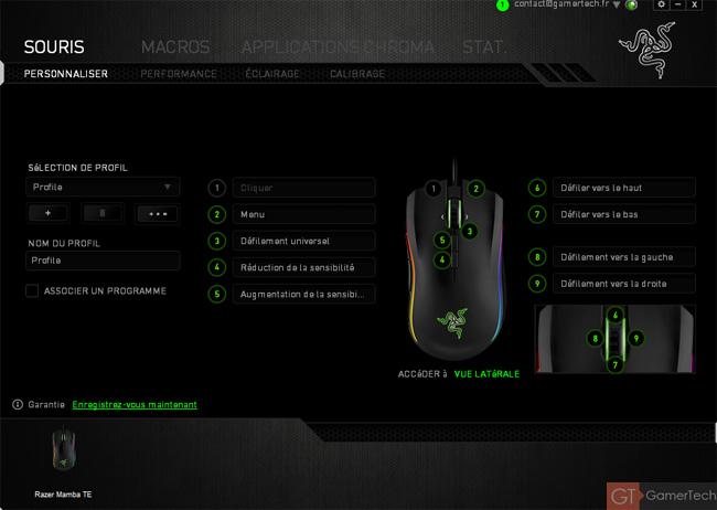 Présentation du logiciel Razer Synapse 2.0 pour la Mamba TE