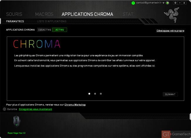 Gestion des applications Chroma