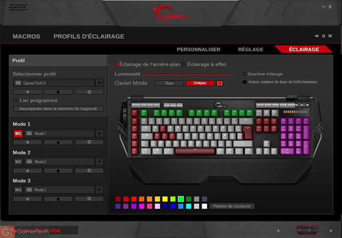 Gestion éclairage RGB du clavier KM780
