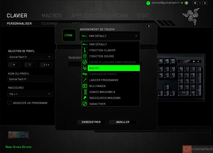 Configuration du Razer Ornata