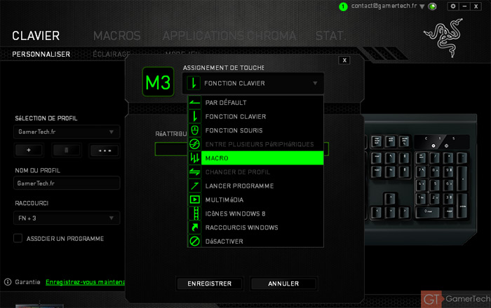 Mapping touches clavier Razer