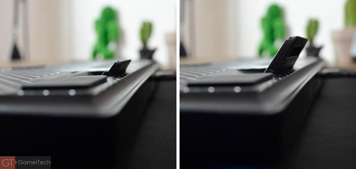 Zoom sur les pieds du clavier