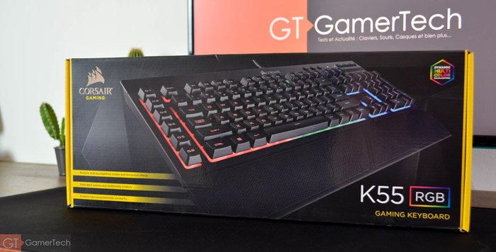Packaging face avant du nouveau clavier gamer de Corsair
