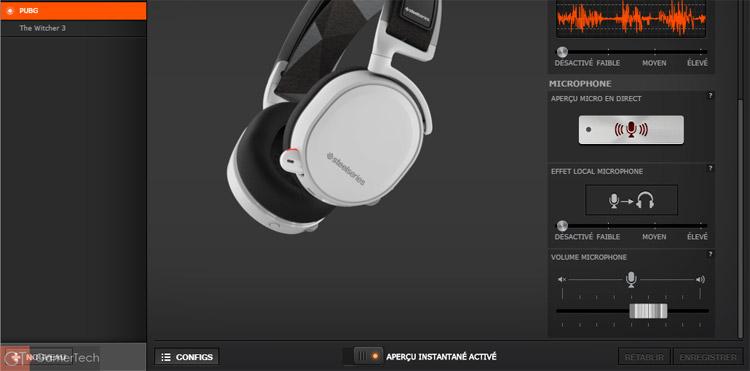 Il est possible d'activer le monitoring du microphone depuis le logiciel de SteelSeries