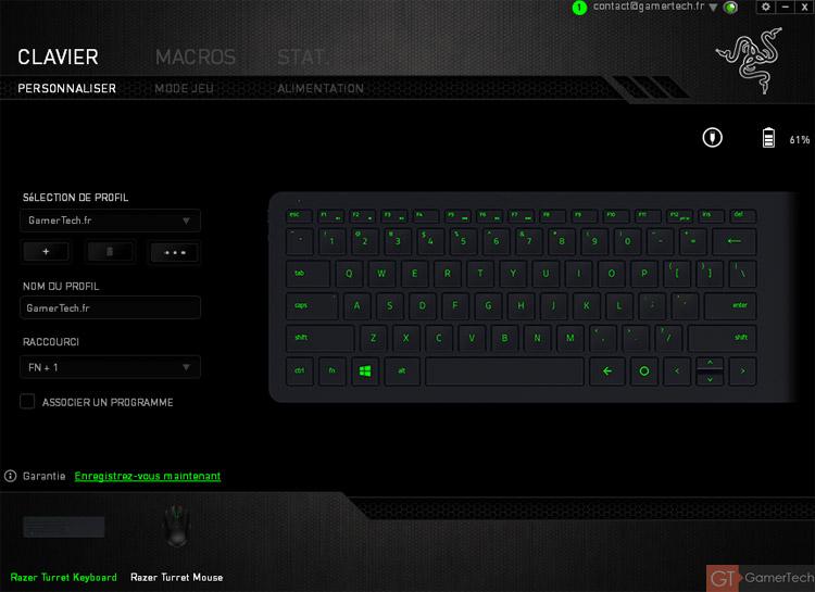 Logiciel Razer Synapse pour configurer le clavier et la souris