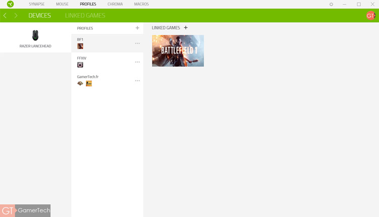 Il est possible de créer un profil de configuration pour chaque jeu