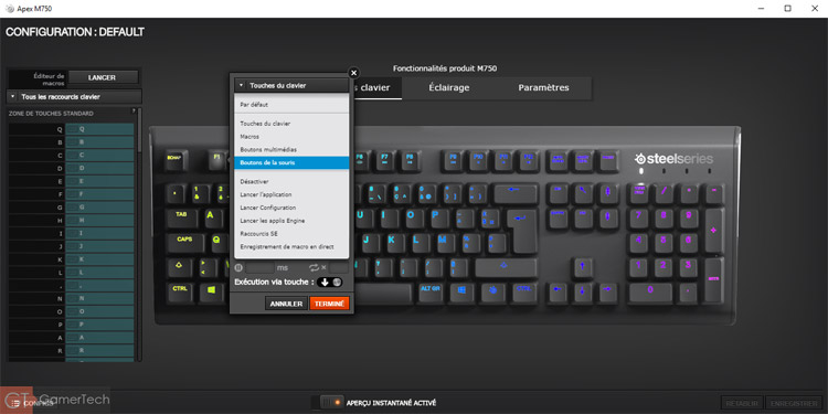 Mapping des touches du clavier SteelSeries