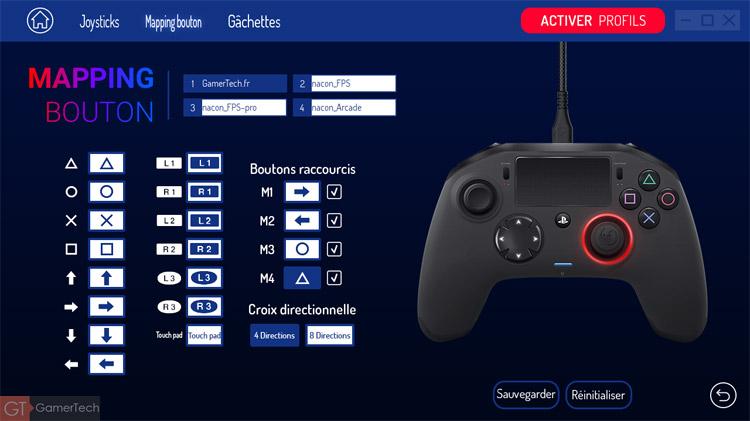 Mapping des boutons pour manette PS4 et PC