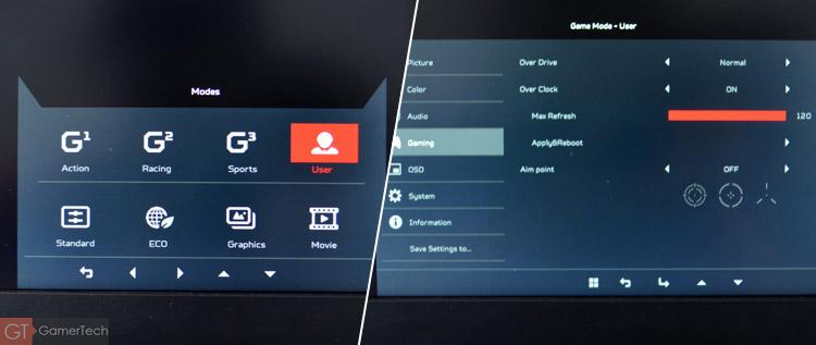 OSD ecran Acer Predator