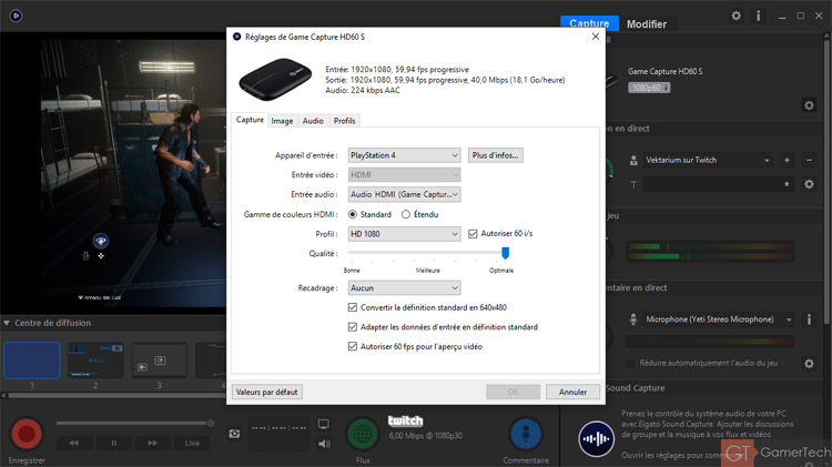 Configuration du logiciel Elgato Game Capture HD