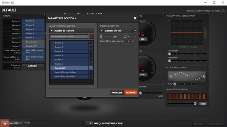 Configuration des boutons sur Souris SteelSeries