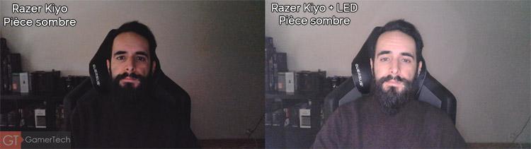 Webcam gamer dans pièce sombre