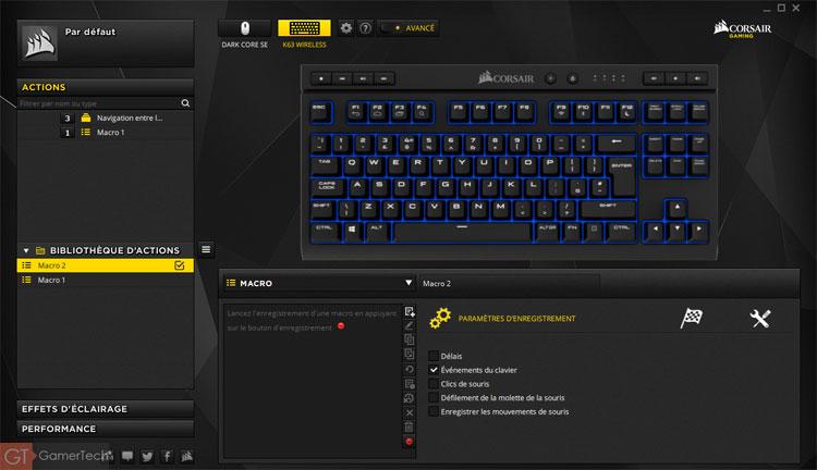 Réglages des touches sur le logiciel Corsair iCUE