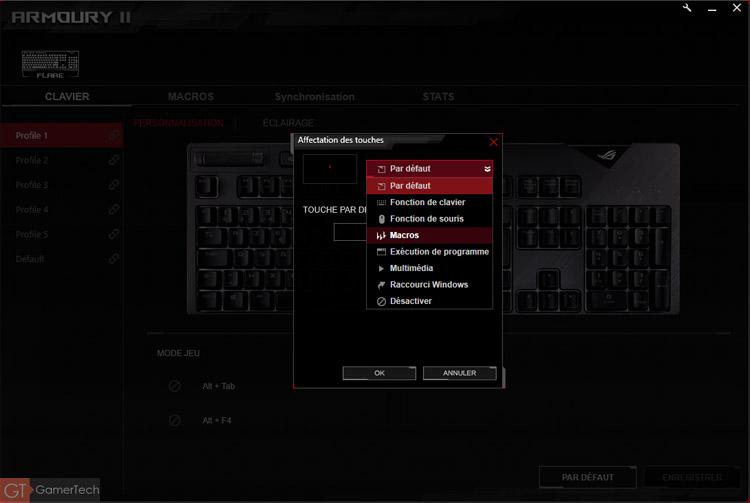 Paramétrage des touches du clavier Asus