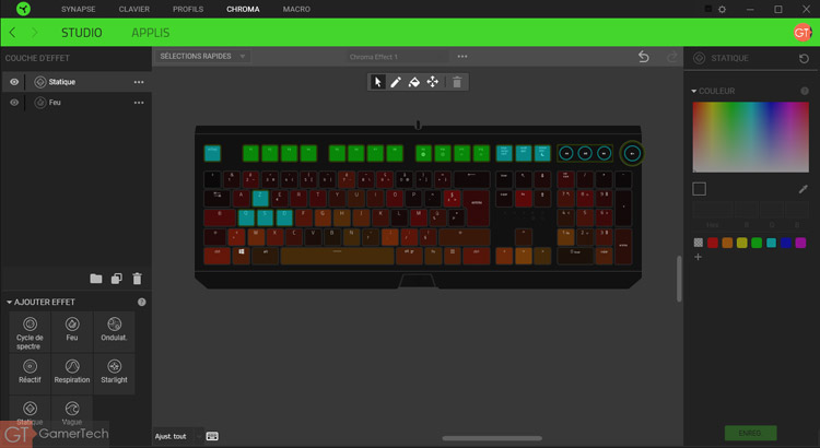 Configuration Chroma pour clavier Razer Blackwidow Elite