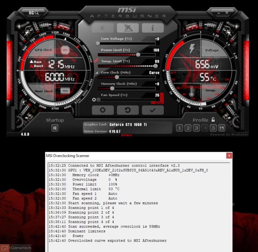Overclocking via MSI Afterburner et Nvidia OC Scanner