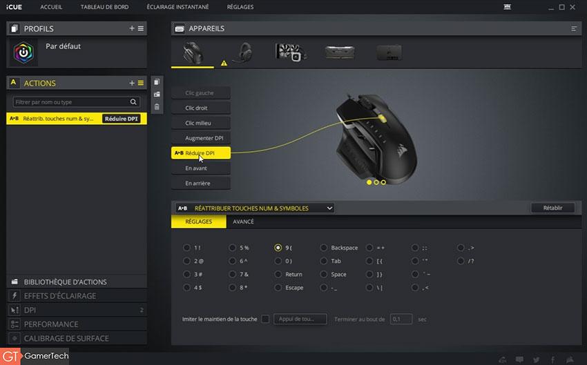 Paramétrage des boutons de la Corsair Glaive RGB Pro