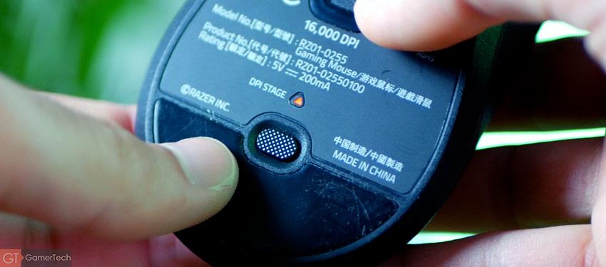La sensibilité de la souris se règle via un bouton à l'arrière