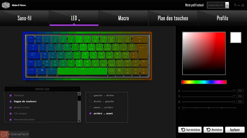 De nombreux effets RGB sont disponibles