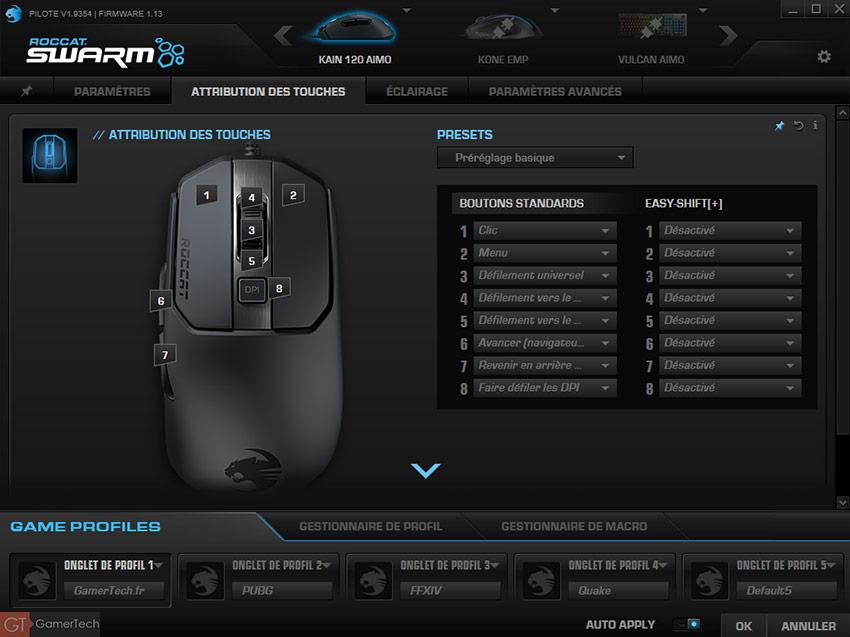Le logiciel Swarm permet de modifier les commandes des boutons de la souris