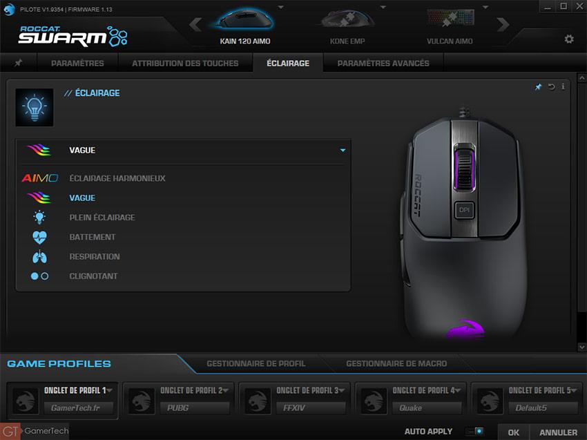 Roccat Swarm pour souris gamer RGB