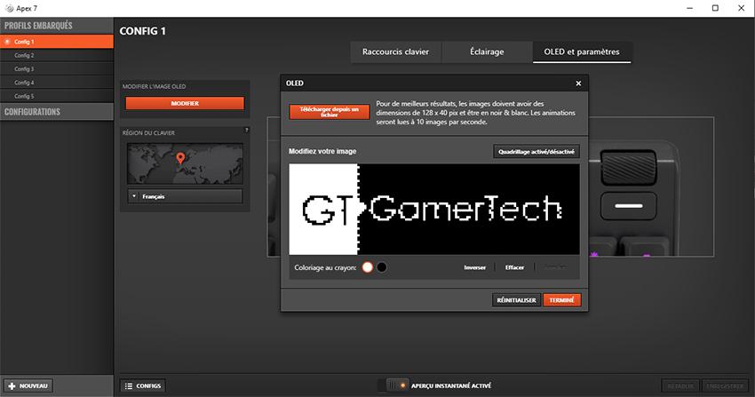 Personnalisation écran OLED SteelSeries Apex 7