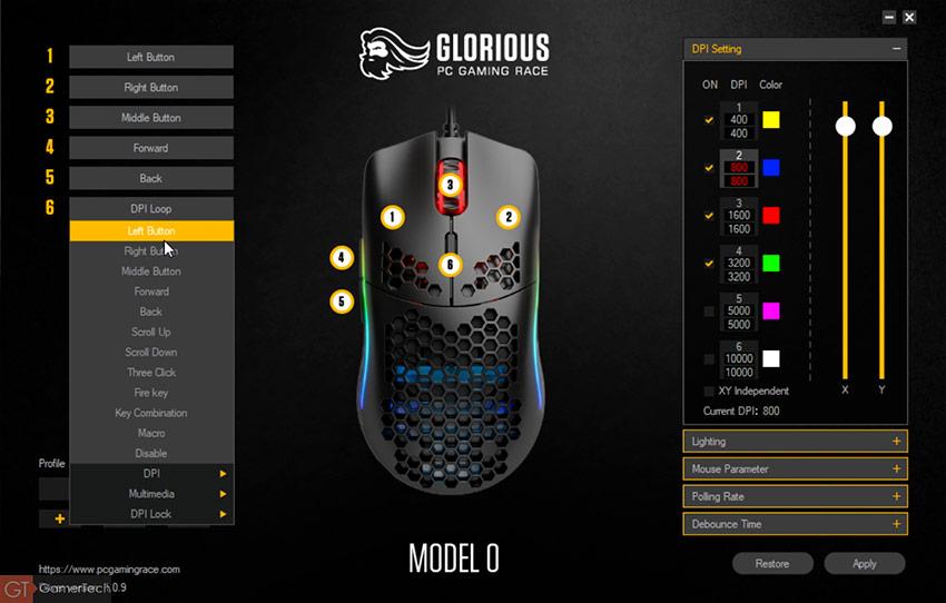 Le logiciel accompagnant les souris Glorious