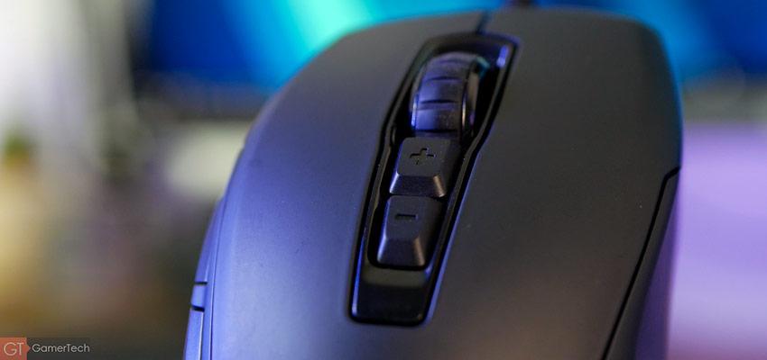 Zoom sur la molette et les boutons dédiés à la sensibilité DPI