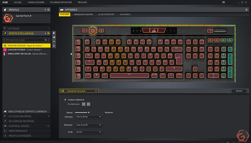 Effets RGB du Corsair K100