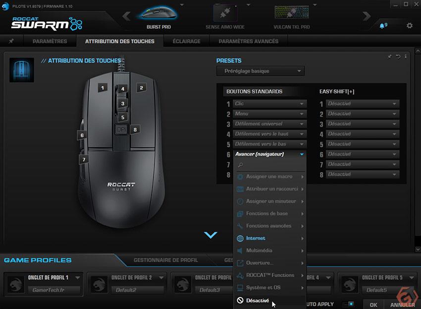 Paramétrage des boutons et options EasyShift+