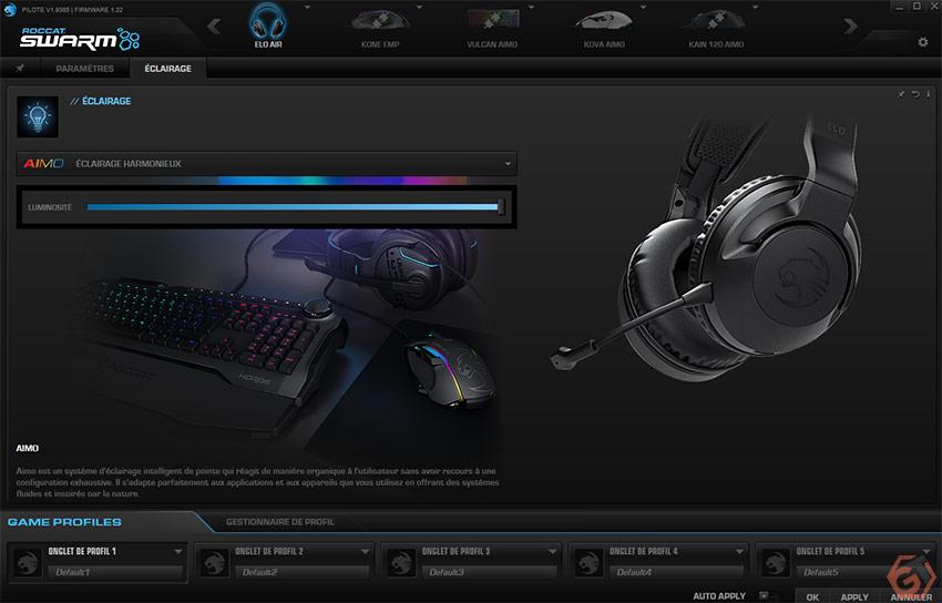 Les éclairages RGB du casque peuvent être paramétrés depuis Roccat Swarm
