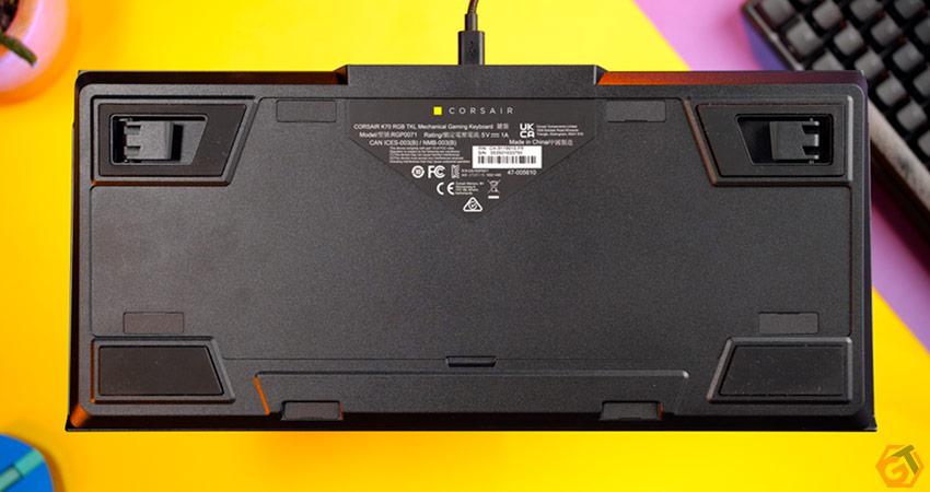 Vue arrière du clavier K70 RGB TKL