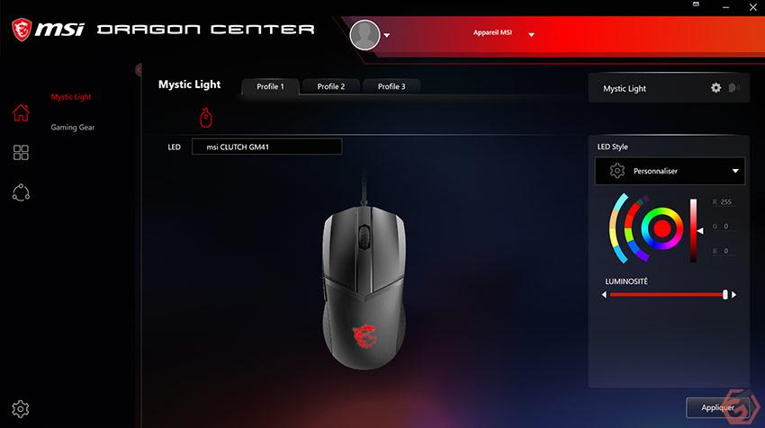 Les éclairages RGB s'ajustent depuis le logiciel MSI Dragon Center