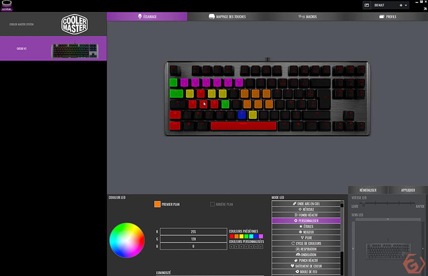 Ajustement des éclairages RGB depuis le logiciel de Cooler Master