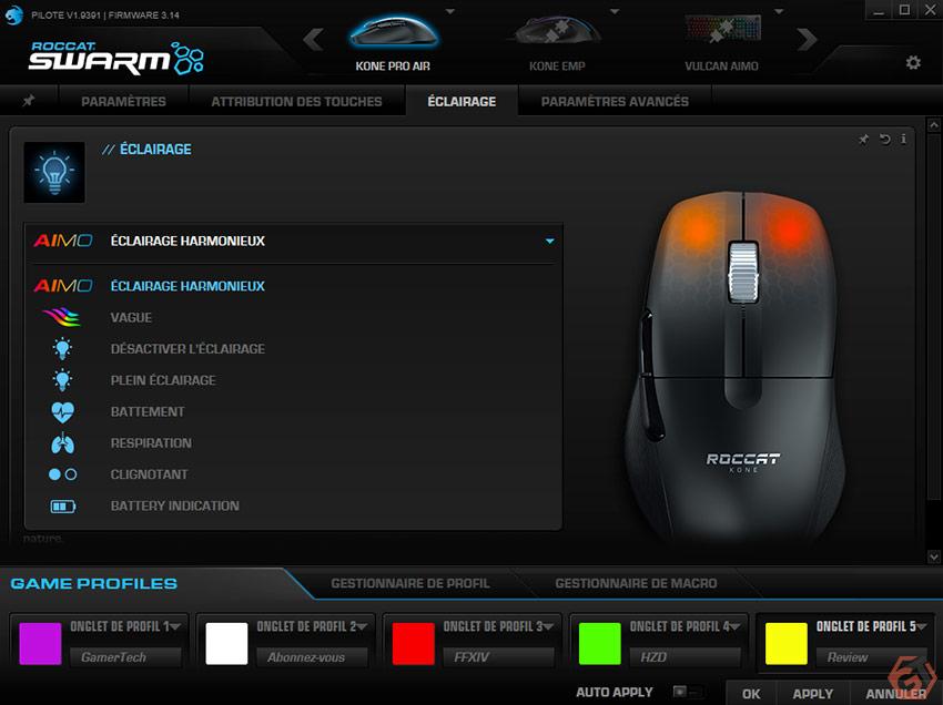 Souris gamer avec éclairage RGB